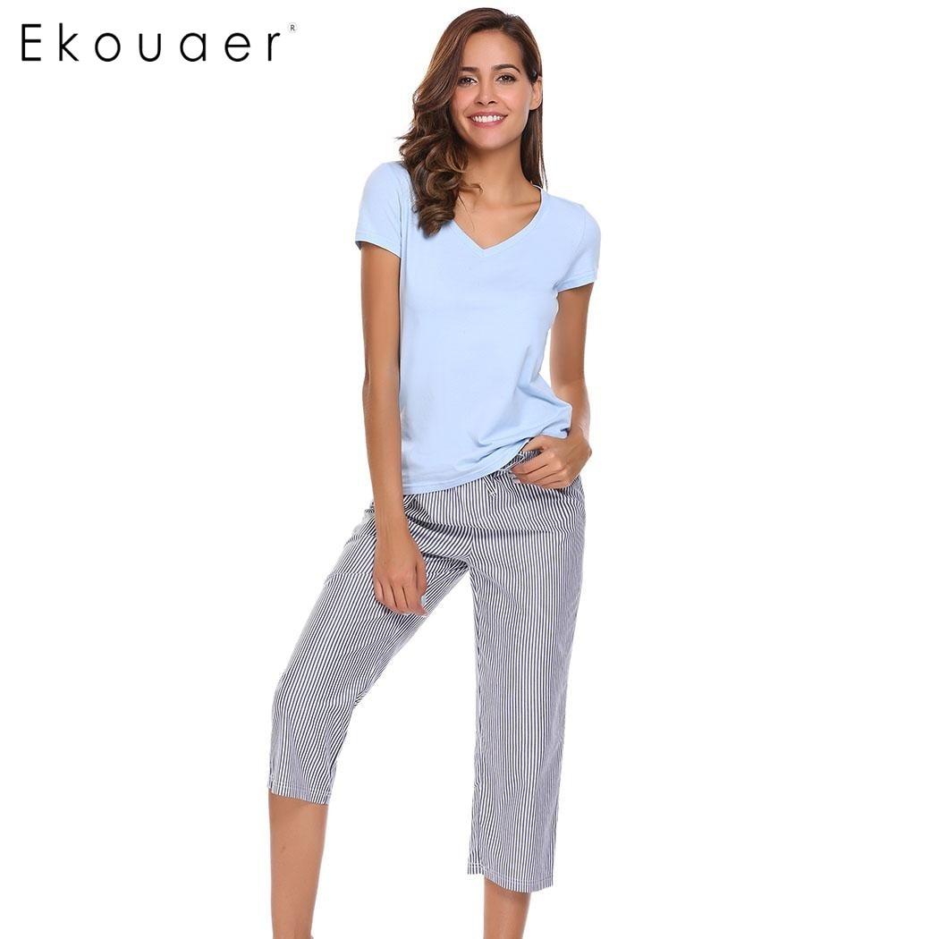 Ekouaer New Casual Pajama Womens Short Sleeve V-Neck Drawstring Sleepwear Nightwear Pajamas Set Summer Loose Sleepwear