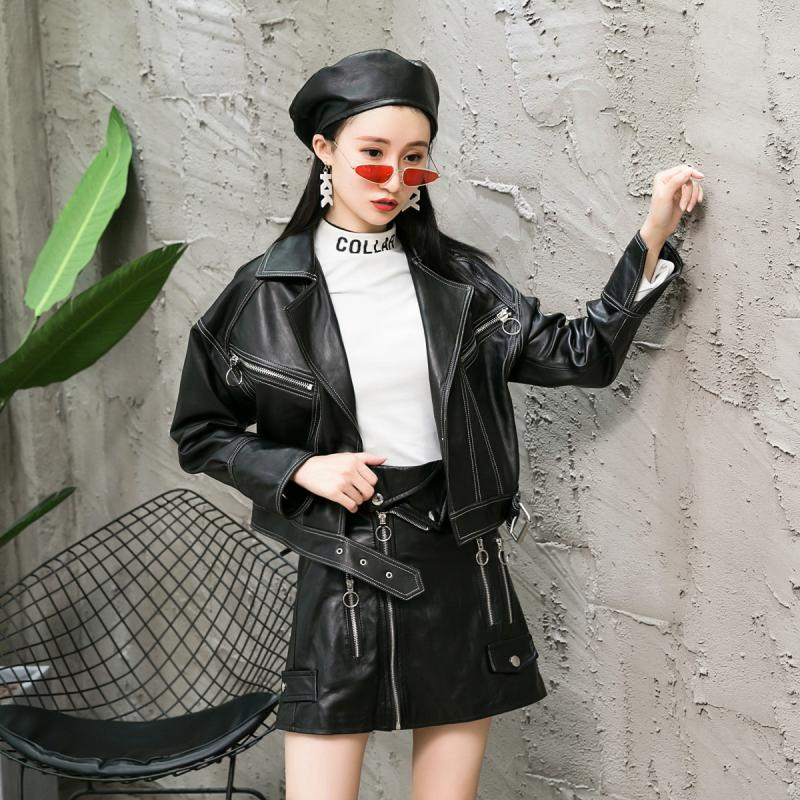 Women Lace Up Genuine Sheep Leather Jacket Motorcycle Real Lambskin Leather Coats Zippers Ladies Punk Short Leather Outerwear