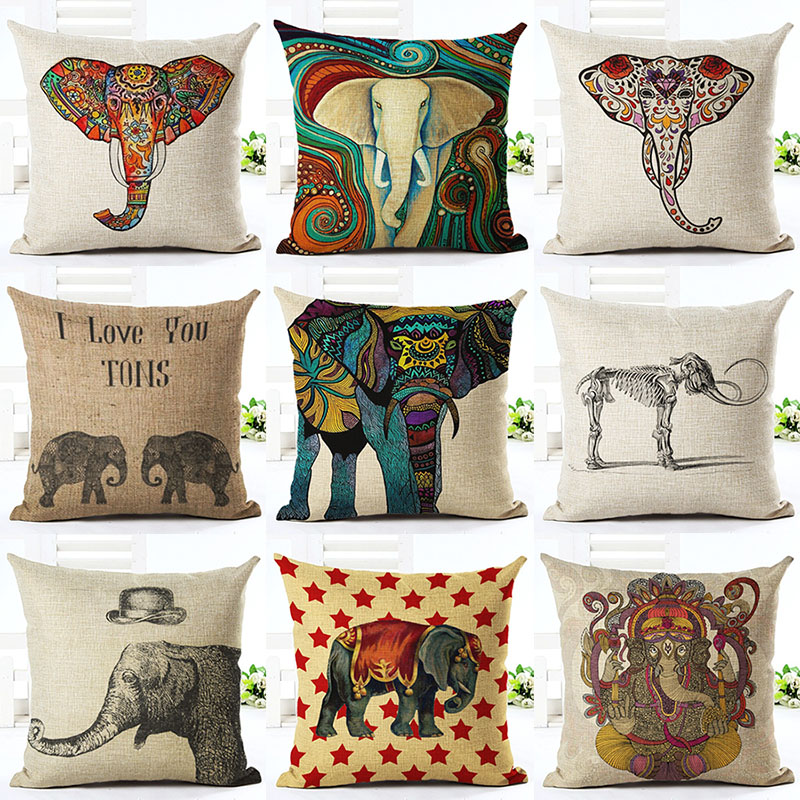 Слон с животным принтом из хлопка и льна Чехлы декоративная наволочка Применение для дом ...