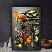 Grãos de especiarias colher pimentão cozinha pintura em tela cuadros escandinavo cartazes e impressões arte da parede comida imagem sala estar