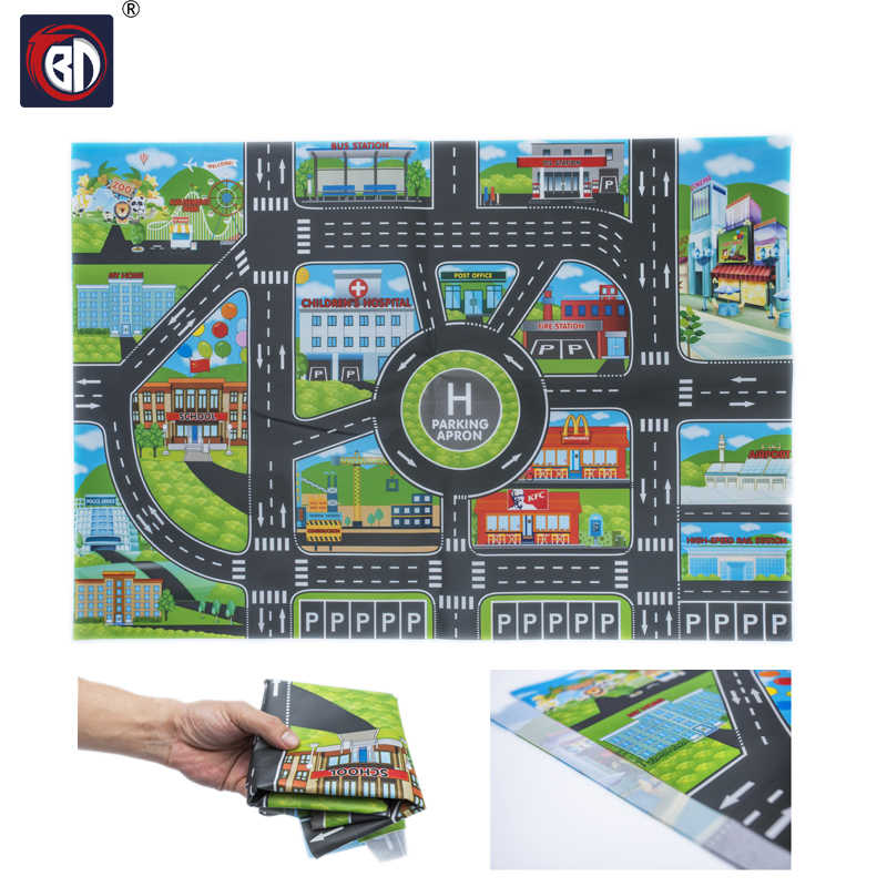 10Pcs Cars & 1Pcs Map 83*58CM City PARKING LOT Roadmap Alloy Toy Model Car Climbing Mats English Version Gifts for Kids