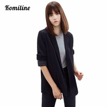 Autumn Women's Blazer Long Sleeve Blue Black Single Button Casual Women's Suit Coat Women Blazer Feminino New Arrival 2017