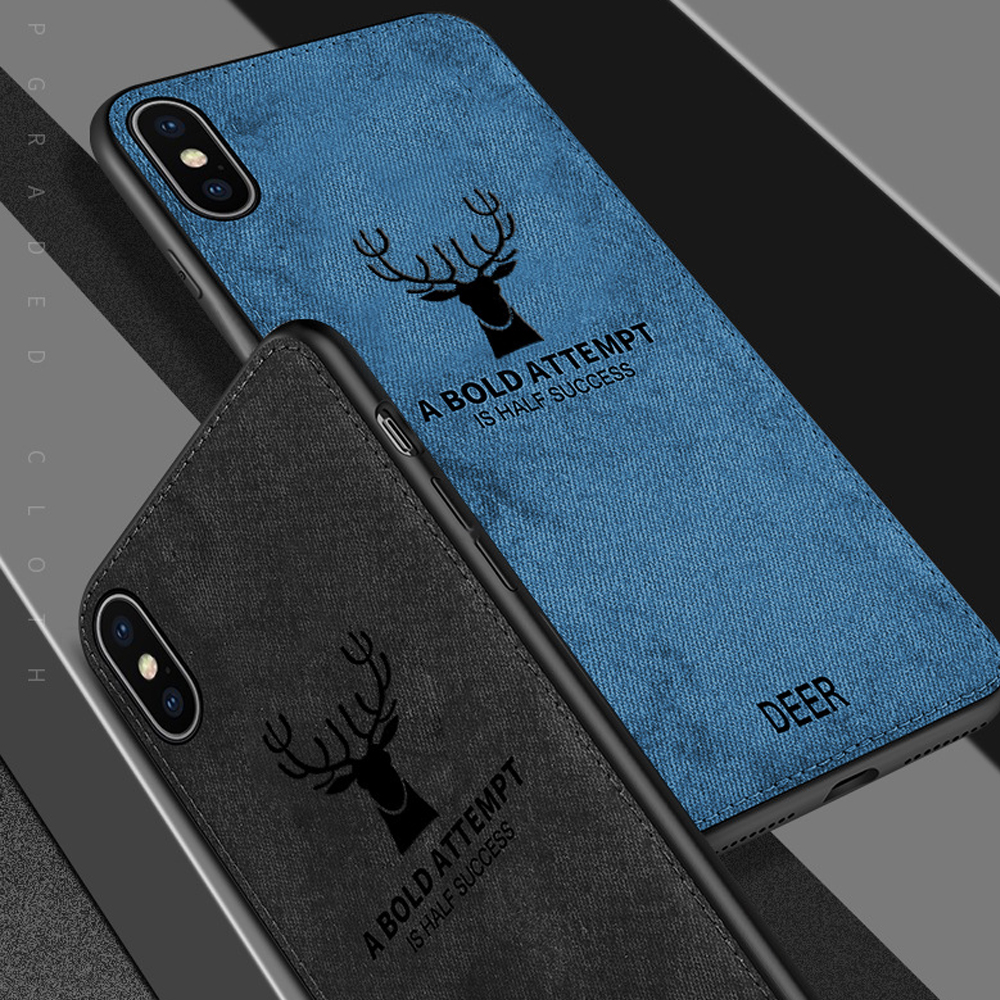 Fabric Cloth Deer Phone Cases For iphone 7 8 Plus 6 6S X XS MAX XR Cover Fashion Luxury Ultra Thin Soft Mobile Phone Accessories in Fitted Cases from Cellphones Telecommunications