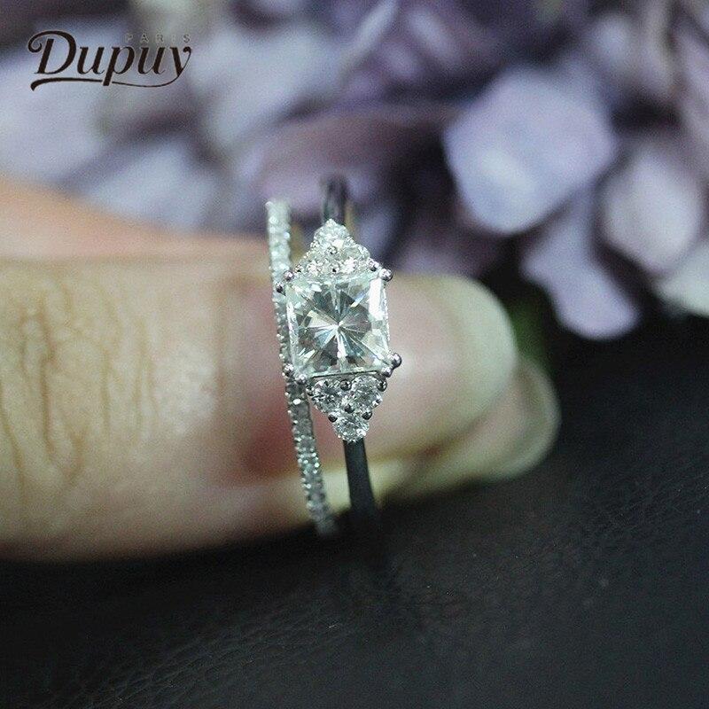 DUPUY принцесса вырезать кольца с муассанитом 2 шт. Винтаж 14 К обручальные кольца и конфликтов бриллианты свадебные наборы для ухода за кожей