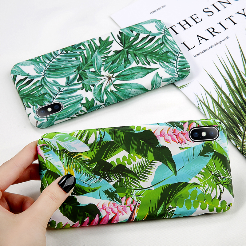 Moskado Vintage Flower Phone Case For iphone X XS MAX XR For iphone 6 6s 7 8 Plus Green Leaves For iphone 7 Hard PC Full Cover