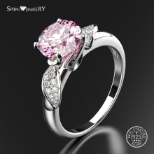 Shipei Real 100% 925 Sterling Silver Pink Sapphire Ring for Women Jewelry Gemstone Ruby Party Size 6-9