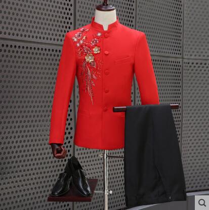 Singer dance stage red clothing slim men Chinese tunic suit set with pants 2018 mens wedding suits Chinese style stand collar