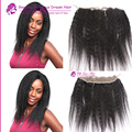 "13x2"" Kinky Straight Frontal Peruvian Unprocess Virgin Hair Coarse Yaki Lace Frontal Closure With Baby Hair 6A Human Hair"