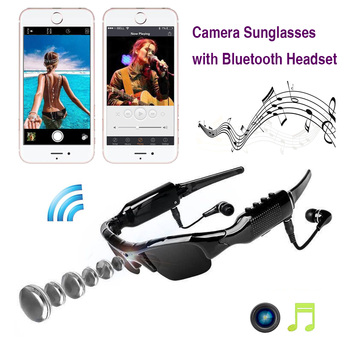 ET Mini Camera Multi-function Sunglasses HD 1080P Camcorder with Bluetooth Headphones Outdoor Video Recorder Music Play Glasses
