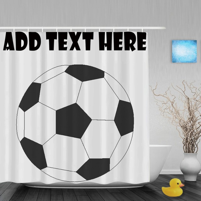 Custom Text Shower Curtain Football Sports Customize Your Bathroom Curtains Polyester Fabric With Hook