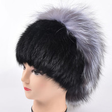 Winter fur hat women real mink fur hat with silver fox fur flower knitted beanie new sale high-end women fur Flowers cap