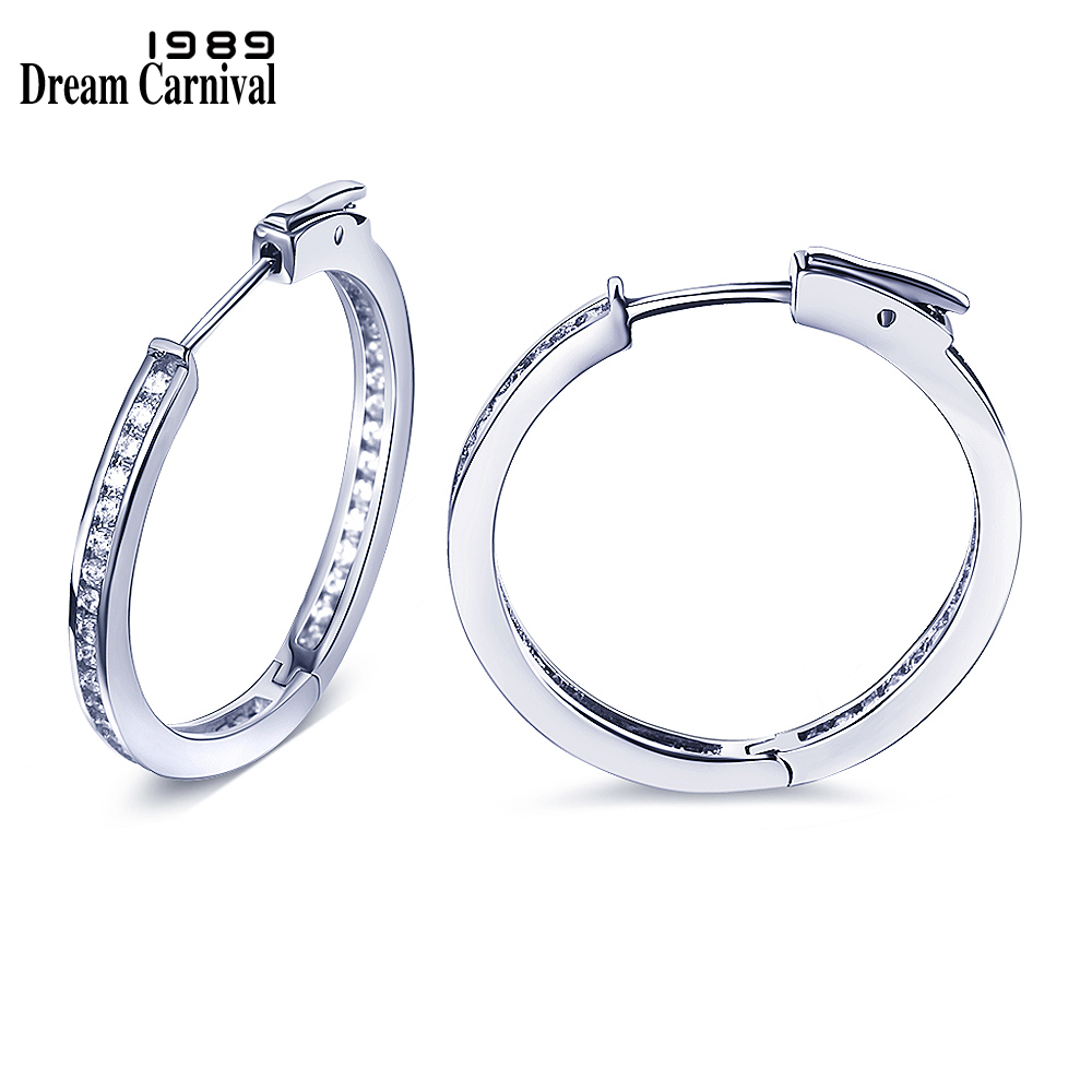 DreamCarnival 1989 Round Hoop Earrings for Women Rhodium Gold Color CZ Crystals Parties Jewelry pendientes circulo Aros SE12433