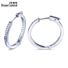 DC1989 Classic Daily Round Ring Beautiful Hoop Earrings Women Platinum 18K Gold Plated Clear White Cubic Zirconia Brass SE12433