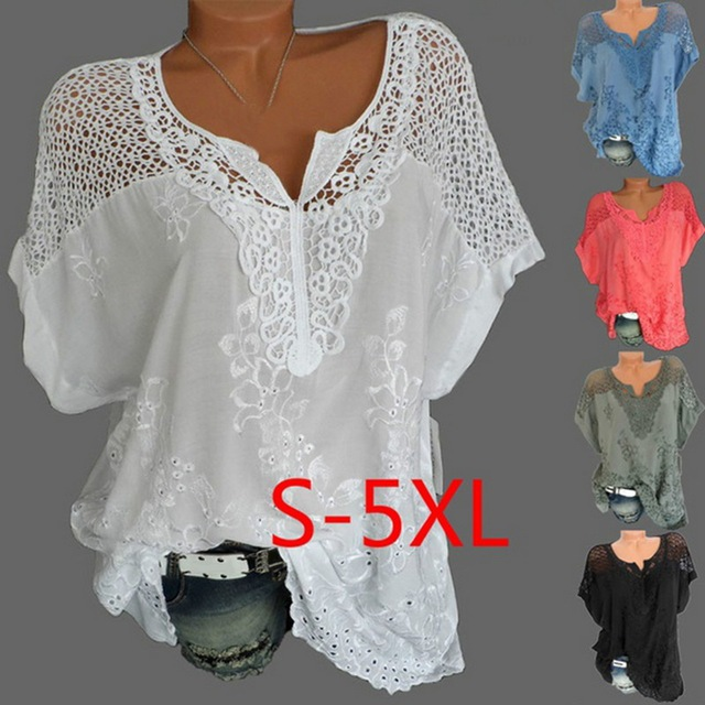 85527ca806 CALOFE 5XL Plus Size Women Lace T shirts Sexy Hollow Out Top Top Tees Femme  Casual Camisa Blusas Short Sleeve Dropship 2019