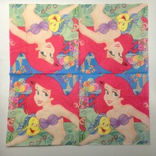 2018 NEW 20pcs Mermaid pattern Napkin 100% Virgin Wood Tissue for Party Decoration Paper placemat 20pcs new 100