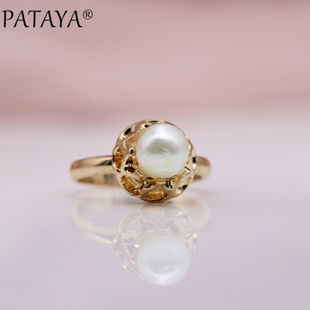 PATAYA New Special Offer 585 Rose Gold Rings Round Imitation Pearls Hollow Engraved Women Wedding Party Jewelry Girl Cute Gift