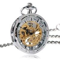 Steampunk Horloge voor Mannen Vrouwen Luxe Hand kronkelende Mechanische Pocket Horloges Zilver Brons Balck Hanger met Fob Chian