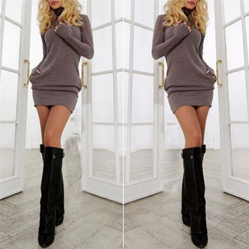 New Sexy Bodycon DressWomen Sexy Party Minidress Long Sleeve Solid Package Hip Short Skinny Dress S-XL Hot Sale ...