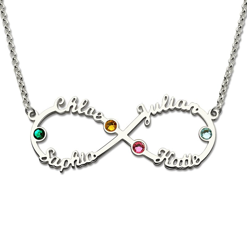 Personalized Birthstone Name Necklace 925 Sterling Silver DIY ...