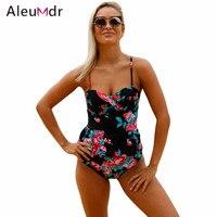 Aleumdr 2pcs Green Leaf Print Pink Flounce Tankini Swimsuit LC410197