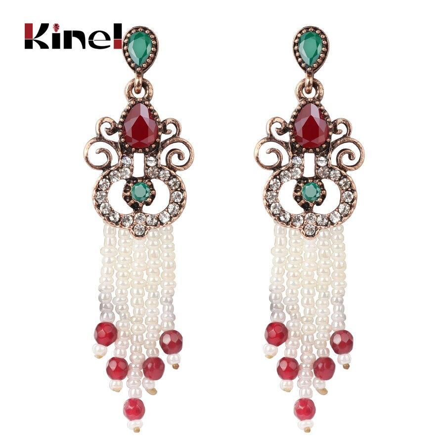 Kinel Antique Gold Color Long Tassel Earrings For Women Handmade Beaded Bohemian Ethnic Jewelry Vintage Wedding Earrings