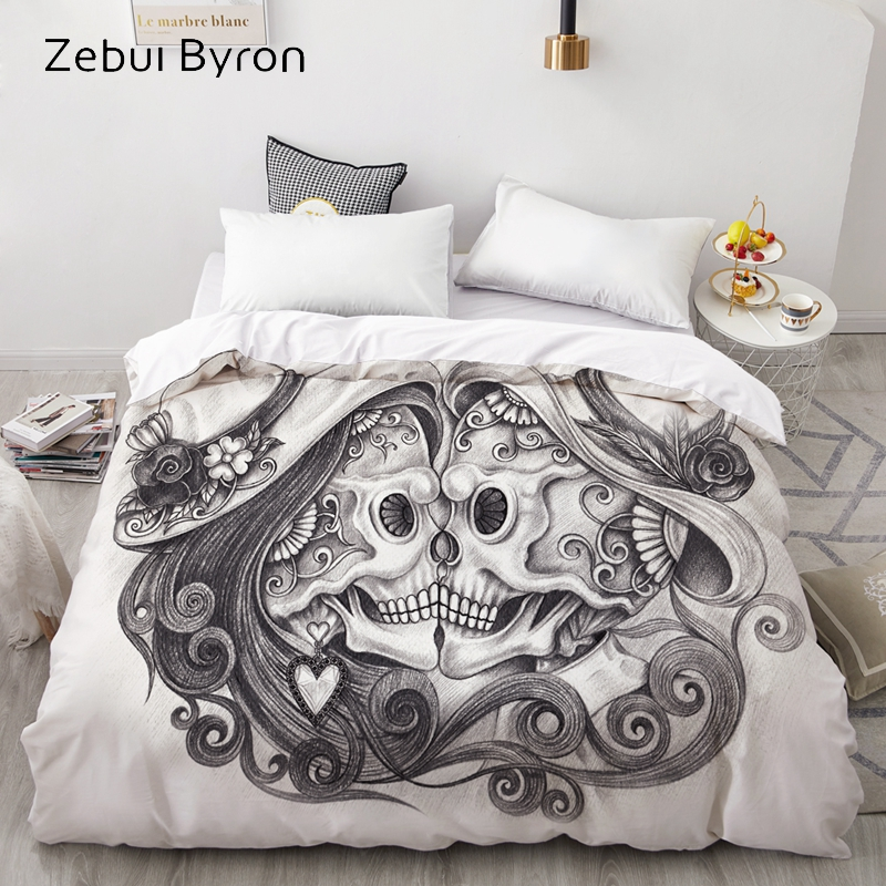 3D Duvet Cover 200x200/220x240 Comforter/Quilt/Blanket case Queen/King/Custom Bedding Black and white Skull Kiss drop ship|Duvet Cover| |  - title=
