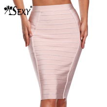 Gosexy 2018 Fashion Women Knee Pencil Women Bandage Skirt Solid Elastic Stripe Official Club Bodycon Lady Skirt Wholesale