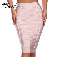 Gosexy 2019 Fashion Women Knee Pencil Women Bandage Skirt Solid Elastic Stripe Official Club Bodycon Lady Skirt Wholesale