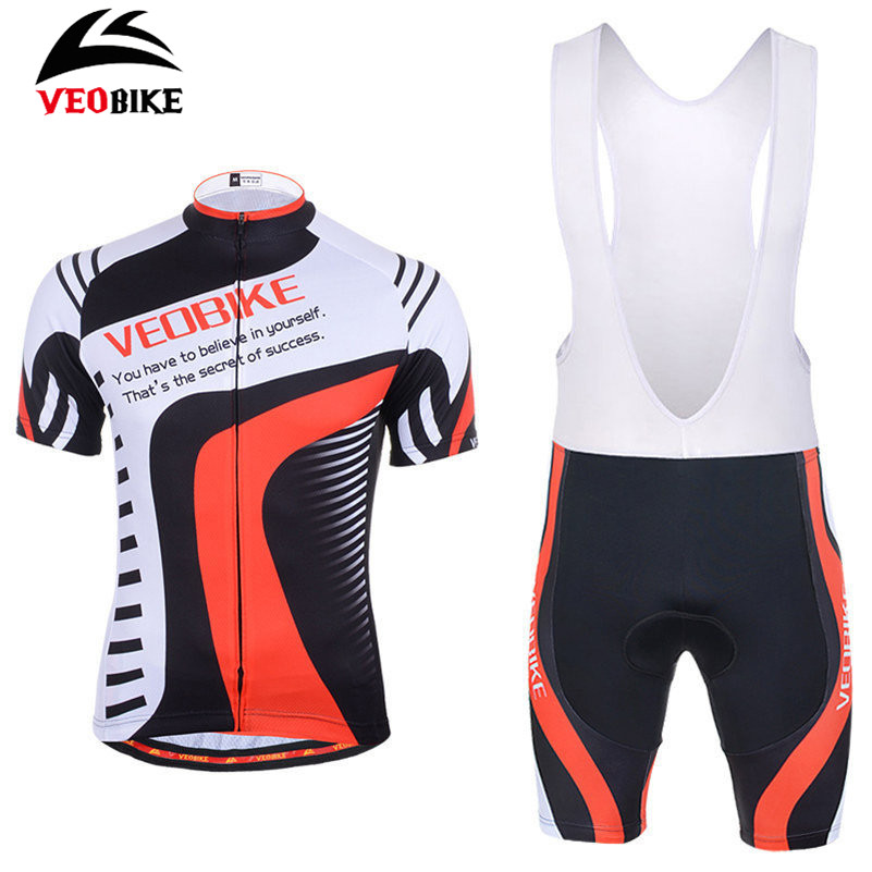 VEOBIKE Men Cycling Clothing Short-sleeve Jersey 3D Gel Pad Bib Breathable Sport Clothes MTB Road Bike Bicycle Cycling Jersey