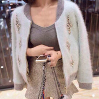Women Beading Sweater Knitted Mohair Cardigan Knitwear Coat Patchwork Diamonds Mosaic Mink Jumper Cashmere Jacket Outwear Tops