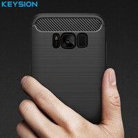 KEYSION Phone Case For Samsung Galaxy S8 Environmental Carbon Fiber Soft TPU Anti Skid Cover For