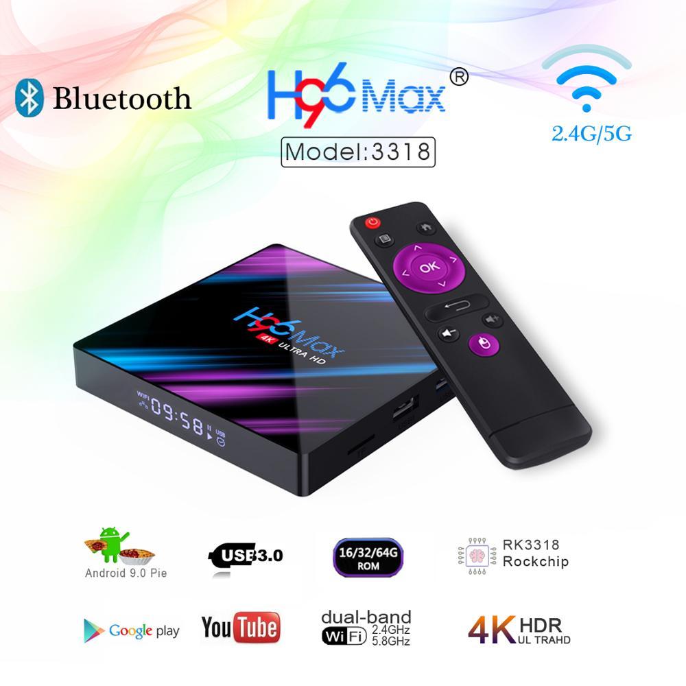 H96 MAX 9.0 Android Smart TV Box 4GB + 64GB sans fil IPTV Box 4K USB décodeur WiFi 5G pour Netflix Youtube Google Play