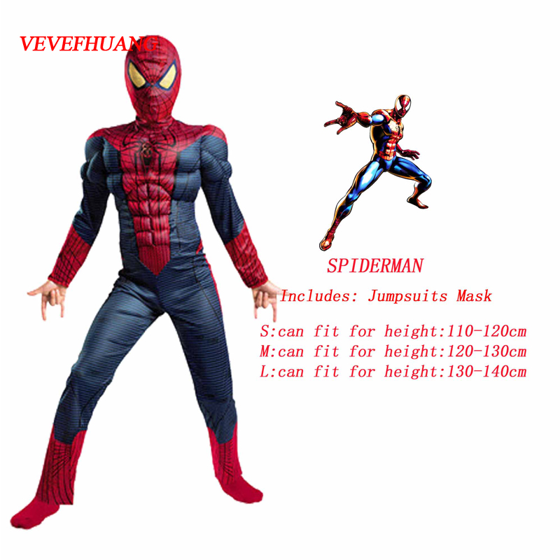 VEVEFHUANG Spiderman Muscle Version Children Cosplay Costume Drama Stage Performance Clothing Children's Gift