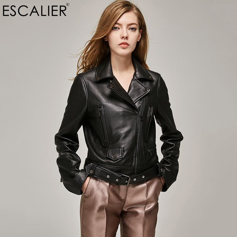 ESCALIEA Genuine Leather Jacket Women Classic Female Jacket Sashes Style Women Turn-down Collar Sheepskin Coat