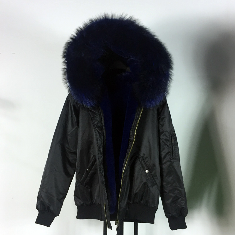 New unisex style winter short black parka hick warm fur lining ...