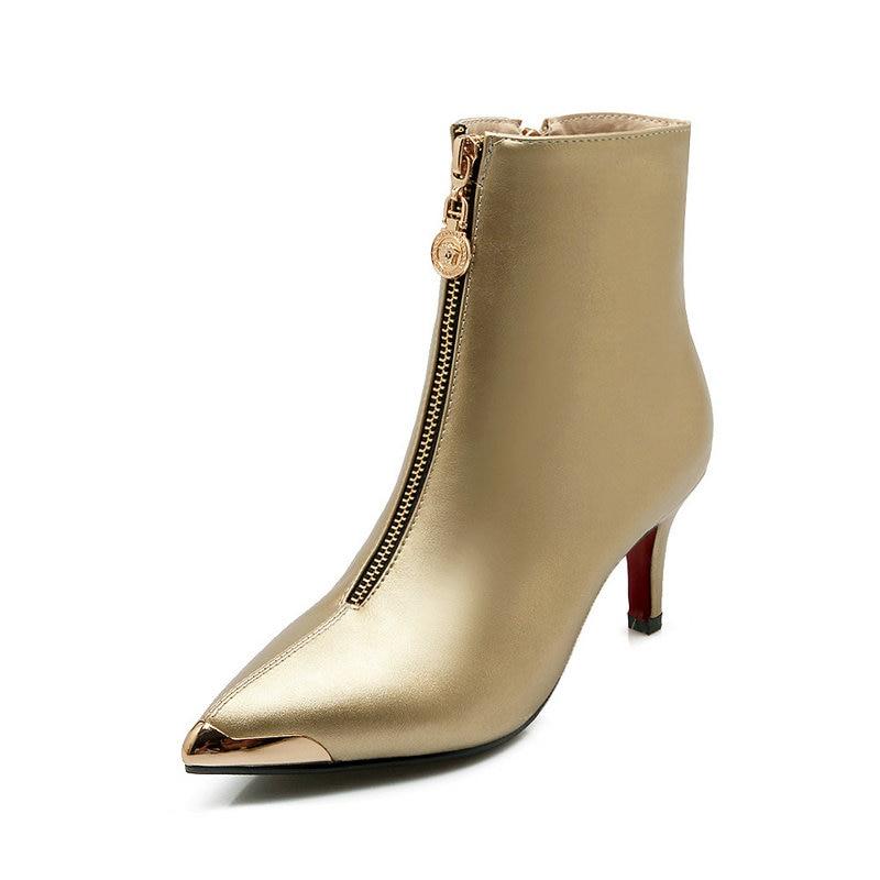 Or Noir or Noir De 43 Chaussures Poined Femme argent Hiver Taille Bottes Métal Orteil Mariage Talons Hauts Cheville Femmes rouge Argent Dames Rouge Grande TlcF1KJ