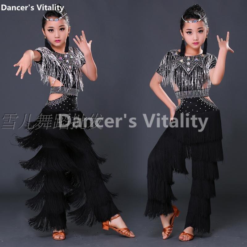 2017 Child Latin Dance Dresses Kids Ballroom Dance Costume Girl Top Diamond  Tassel Modern Dance Dress Women  Dance Dress