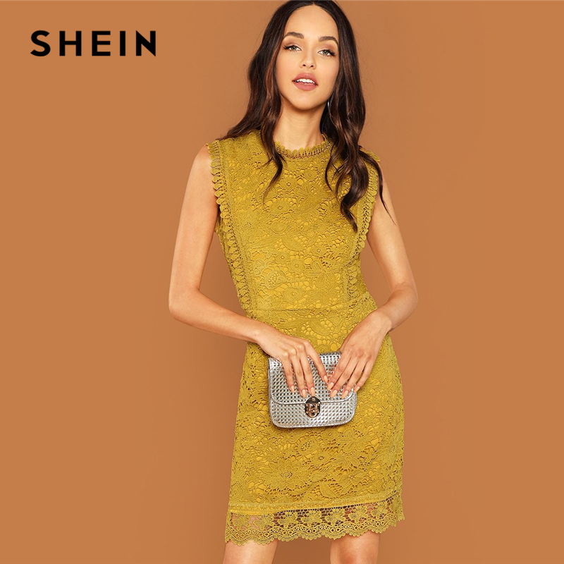 9379694237030 SHEIN Ginger Contrast Lace Mock Neck Dress Casual Stand Collar Sleeveless Dresses  Women Autumn Elegant OL