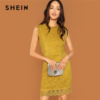 SHEIN Ginger Contrast Lace Mock Neck Dress Casual Stand Collar Sleeveless Dresses Women Autumn Elegant OL Work Short Dress
