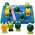 Montessori miúdo Macio 3D Peixes De Madeira Sapo de Brinquedo Set 7 pcs Não-Área de Trabalho elétrica jogo com o bebê & caçoa o presente