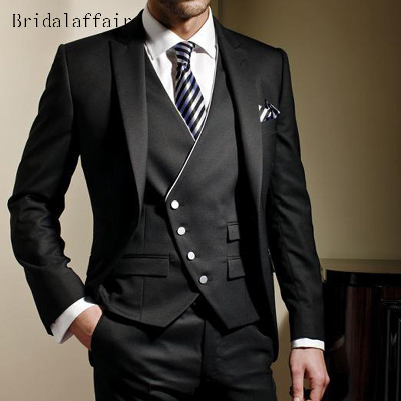 Bridalaffair Black Formal Slim Fit Mens Suits Bespoke Groom Tuxedo Jacket Pants 3Pcs