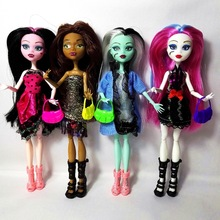 Cheapest NO BOX 4 pcs/set Dolls New Style high dolls Monster fun Moveable Joint Body Fashion Girls Toys Best Gift