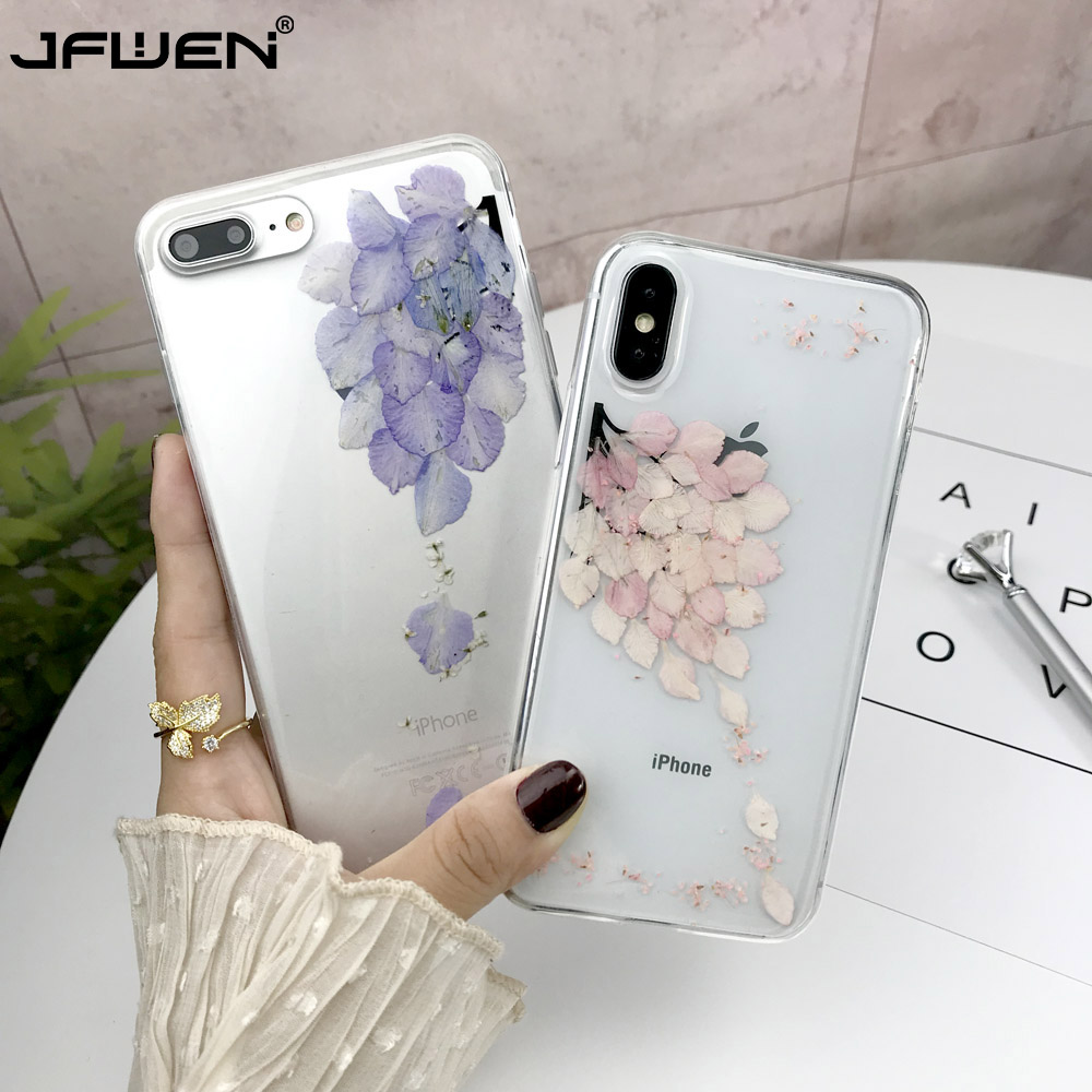 Real Dried Flowers Cases For iPhone X 6 6S 7 8 Plus Phone Case For iphone XR XS Max Case Transparent Clear Soft TPU Cover Fundas