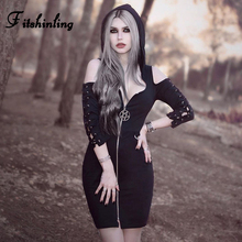 Fitshinling 2019 Gothic Vintage  Solid Goth Dark Bodycon Dresses Hooded Pentagram Open Shoulder Mini Dress Grunge Cool Vestidos