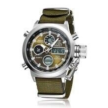 Vente chaude Sport Militaire Montres de Plongée 30 M LED Montres Hommes Top marque De Luxe AMST Véritable En Cuir Homme Quartz Montre-Bracelet Homme Horloge