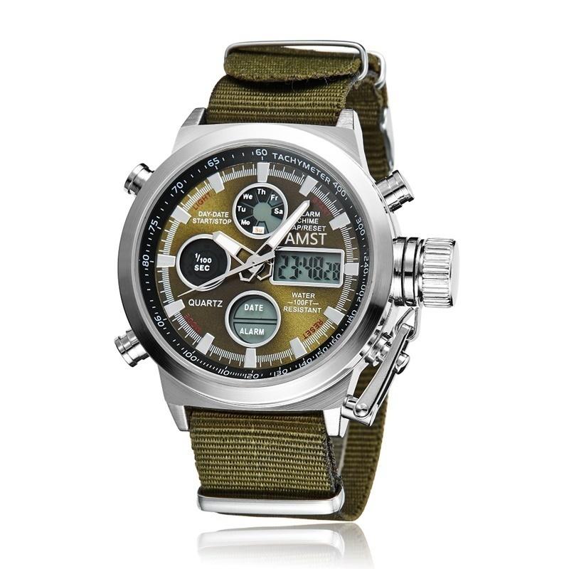 Prix pour Vente chaude Sport Militaire Montres de Plongée 30 M LED Montres Hommes Top marque De Luxe AMST Véritable En Cuir Homme Quartz Montre-Bracelet Homme Horloge
