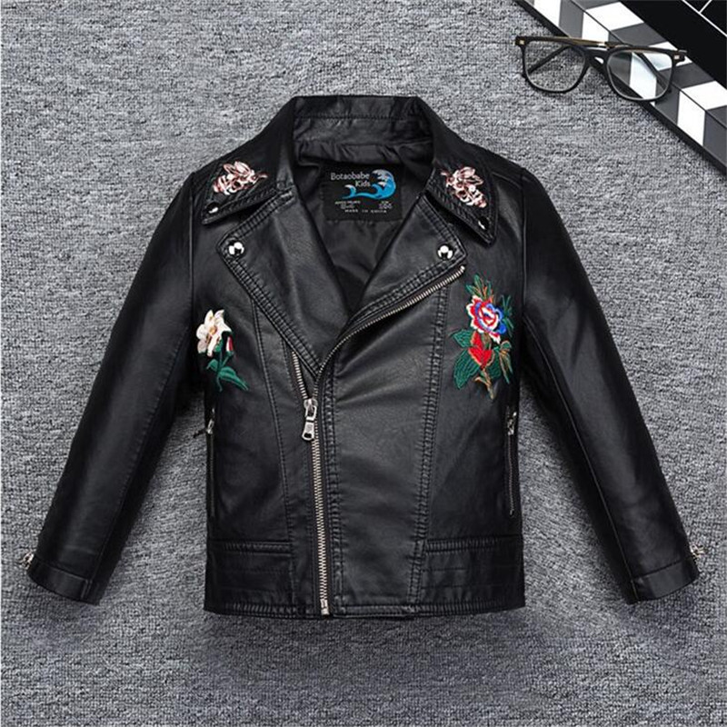 Girls Jacket Coat Kids Leather Jacket Girls Spring Autumn Waterproof Windproof Coat Fashion Embroidery Flower Pattern Jacket laser a2 workbook with key cd rom