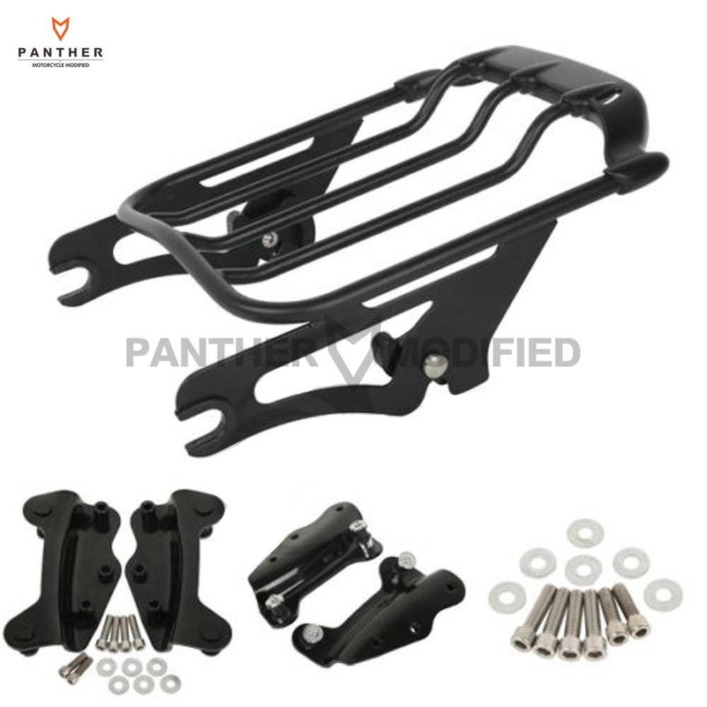 Black Motorcycle Luggage Rack 2 Up Tour Pak + 4 Point Docking Kit Case for Harley FLHT FLHX FLTR FLHX 2009-2013 2 up tour pak mounting luggage rack for harley touring flhr flht flhx fltr 14 16