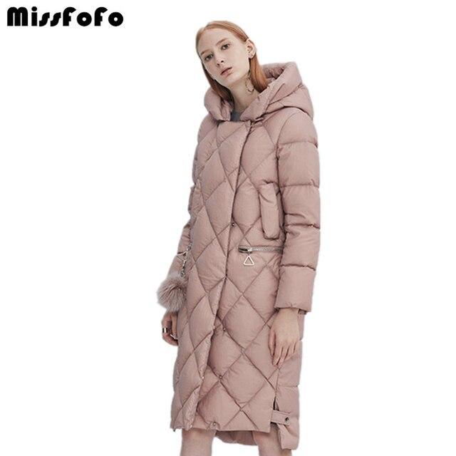 MissFoFo 2017, новая мода повседневное пальто белая утка подпушка женский парка