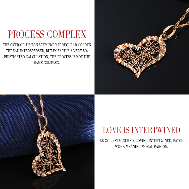 18 k Saf Altın Kolye Kalp Şekli Charm Au750 Gül Güzel Takı Moda - Takı - Fotoğraf 4